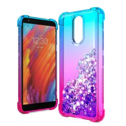 Liquid Glitter Quicksand Two Tone Shock Proof TPU TPU - Blue+Hot Pink For LG Aristo 4 Plus