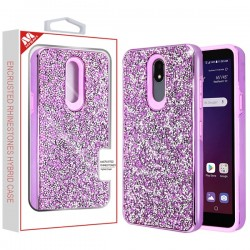 Electroplated Purple/Purple Encrusted Rhinestones Hybrid Case(with Package) For LG Aristo 4 Plus