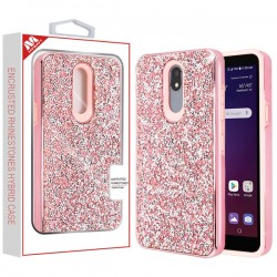 Electroplated Pink/Pink Encrusted Rhinestones Hybrid Case(with Package) For LG Aristo 4 Plus