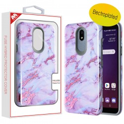 Electroplated Purple Marbling/Iron Gray Fuse Hybrid Protector Cover (with Package) For LG Aristo 4 Plus