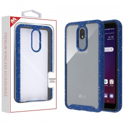 Highly Transparent Clear/Blue Splash Hybrid Case (with Package) For LG Aristo 4 Plus