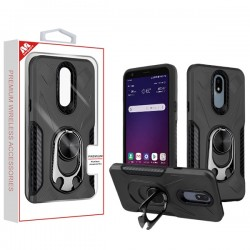 Black/Black Hybrid Protector Cover (with Ring Holder Kickstand Bottle)(with Package) For LG Aristo 4 Plus