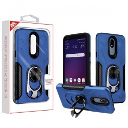 Ink Blue/Black Hybrid Protector Cover (with Ring Holder Kickstand Bottle)(with Package) For LG Aristo 4 Plus