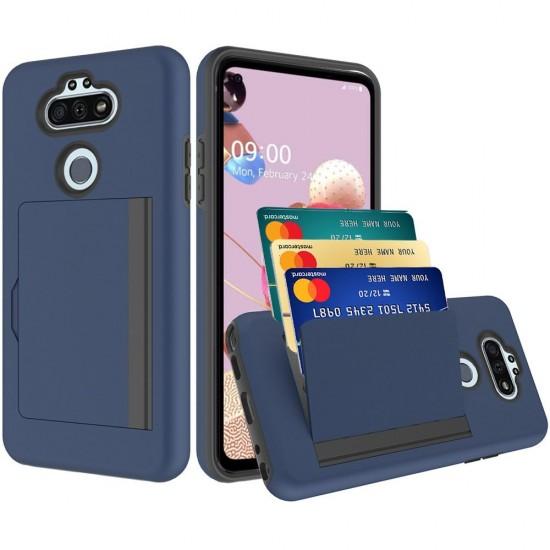 Multiple Card Holder Shockproof Hybrid for LG Aristo 5 - Dark Blue