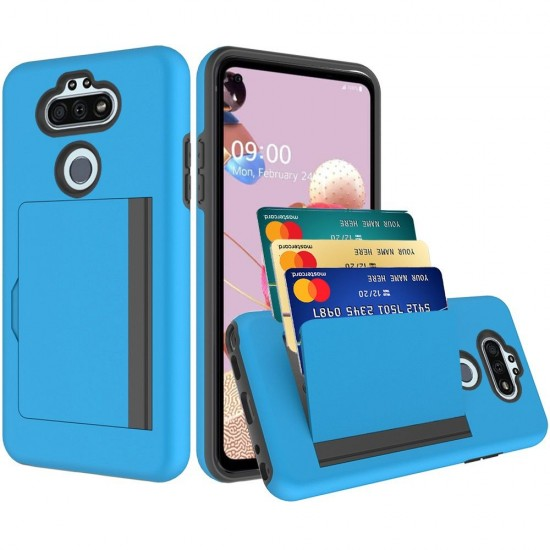 Multiple Card Holder Shockproof Hybrid for LG Aristo 5 - Blue