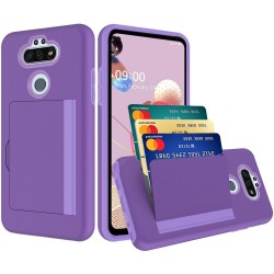 Multiple Card Holder Shockproof Hybrid for LG Aristo 5 - Purple