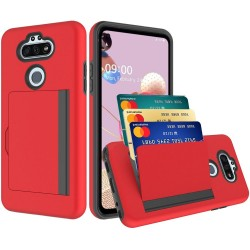 Multiple Card Holder Shockproof Hybrid for LG Aristo 5 - Red