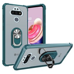 Clear Transparent Ring Stand Magnetic Hybrid for LG Aristo 5 - Clear/Green