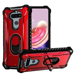 Shock Proof Metal Jacket Ring Stand for LG Aristo 5 - Red