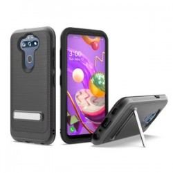 BRUSHED METALLIC W/ EDGE AND KICKSTANDS FOR LG ARISTO 5 BLACK