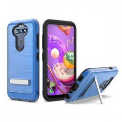BRUSHED METALLIC W/ EDGE AND KICKSTANDS FOR LG ARISTO 5 BLUE