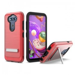 BRUSHED METALLIC W/ EDGE AND KICKSTANDS FOR LG ARISTO 5 RED