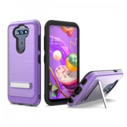 BRUSHED METALLIC W/ EDGE AND KICKSTANDS FOR LG ARISTO 5 PURPLE