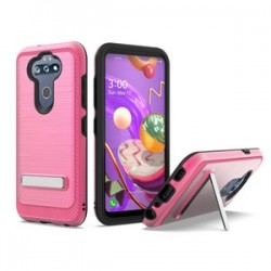 BRUSHED METALLIC W/ EDGE AND KICKSTANDS FOR LG ARISTO 5 PINK