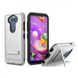 BRUSHED METALLIC W/ EDGE AND KICKSTANDS FOR LG ARISTO 5 SILVER