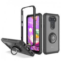 HEAVY DUTY BUMPER CASE WITH RING STAND FOR LG ARISTO 5 - BLACK