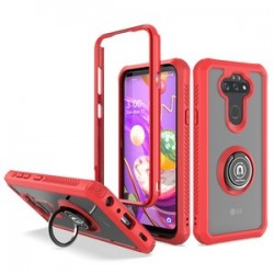 HEAVY DUTY BUMPER CASE WITH RING STAND FOR LG ARISTO 5 - RED