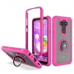 HEAVY DUTY BUMPER CASE WITH RING STAND FOR LG ARISTO 5 - PINK