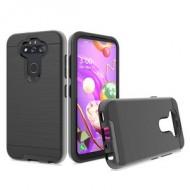 Hybrid Texture Brushed Metal case, For LG Aristo 5 - Black