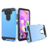 Hybrid Texture Brushed Metal case, For LG Aristo 5 - Blue