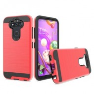 Hybrid Texture Brushed Metal case, For LG Aristo 5 - Red