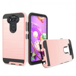 Hybrid Texture Brushed Metal case, For LG Aristo 5 - Rose Gold