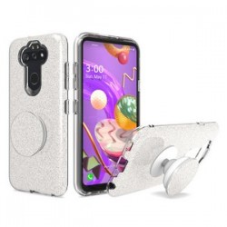 Bling Case with Pop Up for LG Aristo 5 Silver