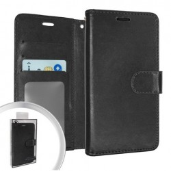 LEATHER WALLET POUCH FOR LG ARISTO 5 BLACK