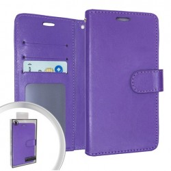 LEATHER WALLET POUCH FOR LG ARISTO 5 PURPLE