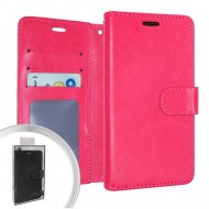 LEATHER WALLET POUCH FOR LG ARISTO 5 PINK