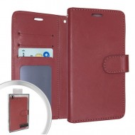 LEATHER WALLET POUCH FOR LG ARISTO 5 BROWN