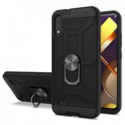 LG K22 New Matte Design Brush Case with Ring Stand - Black
