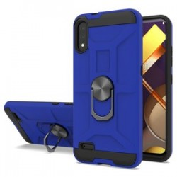 LG K22 New Matte Design Brush Case with Ring Stand - Blue