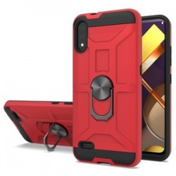 LG K22 New Matte Design Brush Case with Ring Stand -Red