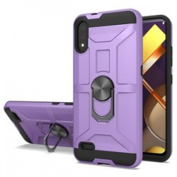 LG K22 New Matte Design Brush Case with Ring Stand - Purple