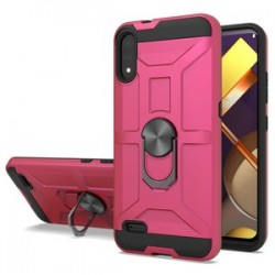 LG K22 New Matte Design Brush Case with Ring Stand - Pink