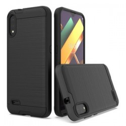 LG K22 Hybrid Texture Brushed Metal case, Black