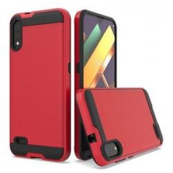 LG K22 Hybrid Texture Brushed Metal case, Red