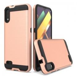 LG K22 Hybrid Texture Brushed Metal case, Rose Gold