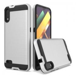 LG K22 Hybrid Texture Brushed Metal case, Silver