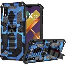 For LG K22 LG K32 5G Machine Design Magnetic Kickstand Case Cover - Camo Blue