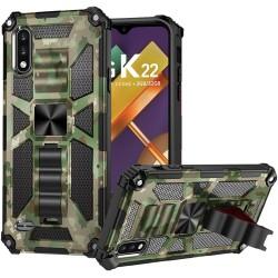For LG K22 LG K32 5G Machine Design Magnetic Kickstand Case Cover - Camo Green