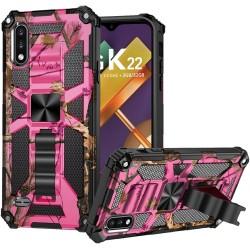 For LG K22 LG K32 5G Machine Design Magnetic Kickstand Case Cover - Camo Pink