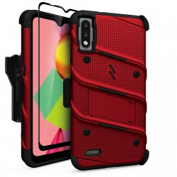 ZIZO BOLT SERIES LG K22 CASE WITH TEMPERED GLASS - RED/BLACK