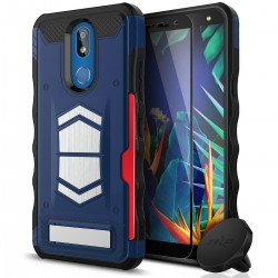 ZIZO ELECTRO SERIES W/ TEMPERED GLASS SCREEN PROTECTOR, CARD SLOT, BUILT IN MAGNET, AIR VENT MAGNETIC HOLDER INCLUDED For LG K40