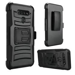 Hybrid Side Kickstand With Holster for LG K51 - Black