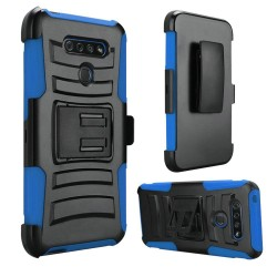Hybrid Side Kickstand With Holster for LG K51 - Blue