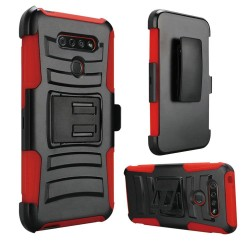 Hybrid Side Kickstand With Holster for LG K51 - Red