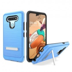 Brushed Metallic Case W/ Edge and Kickstands for LG K51 BLUE