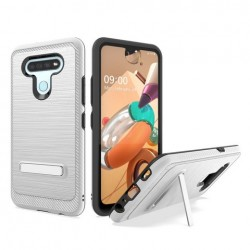 Brushed Metallic Case W/ Edge and Kickstands for LG K51 SILVER